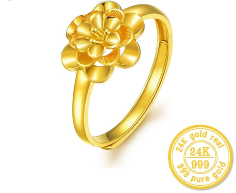 24K Gold Ring Fine Jewelry Pure 999