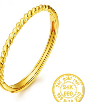 24k Pure Gold Ring 999 Solid Fine Jewelry