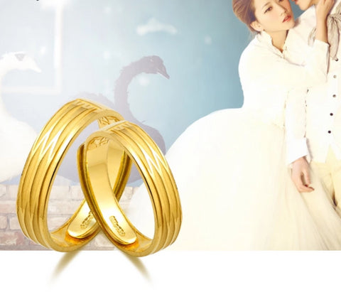 Wedding Bands 24K Pure Gold Rings Fine Jewelry