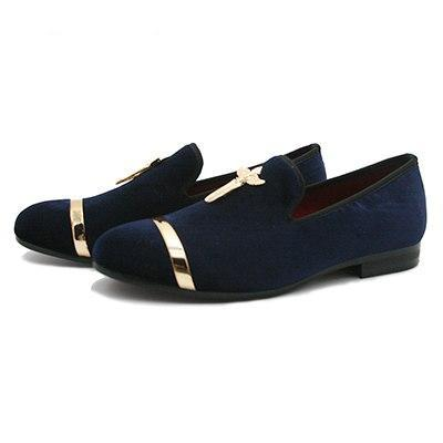 Image of Luxury Mens Shoes Genuine Gold Loafers Cross Velvet - fobglobal