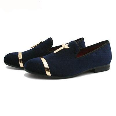 Luxury Mens Shoes Genuine Gold Loafers Cross Velvet