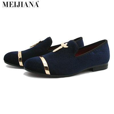 Image of Luxury Mens Shoes Genuine Gold Loafers Cross Velvet