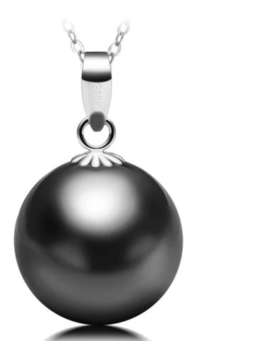 Pure 18K White Gold Natural Black Tahitian Pearl Pendant Necklace