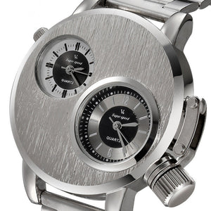 Mens Sports Watch Dual Time Zone Dial Silver Full Steel