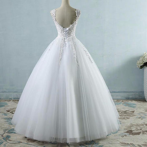 Image of Ball Gowns Spaghetti Straps White Ivory Tulle Wedding Dress Size 2-26W - fobglobal