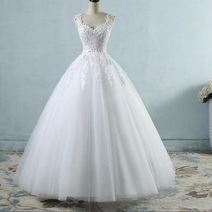 Ball Gowns Spaghetti Straps White Ivory Tulle Wedding Dress Size 2-26W