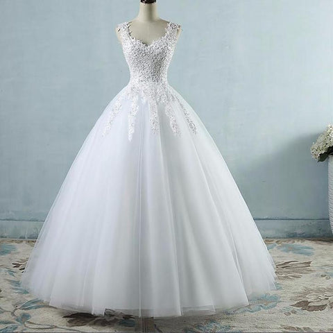 Ball Gowns Spaghetti Straps White Ivory Tulle Wedding Dress Size 2-26W - fobglobal