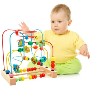 Baby Bead Maze Colourful Wooden Education Developing Interactive Montessori Toy