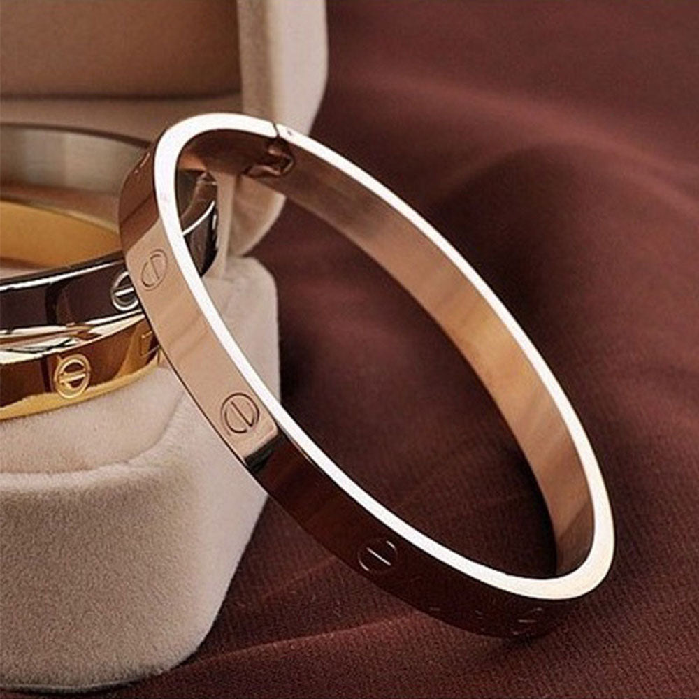 Trendy Titanium Crystal Rose Gold Silver Bangle Bracelet