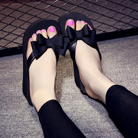 Image of Women Fashion Platform Mid Heel Flip Flops Beach Sandals Bowknot Slippers