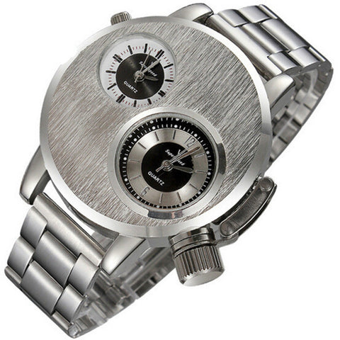 Mens Sports Watch Dual Time Zone Dial Silver Full Steel - fobglobal