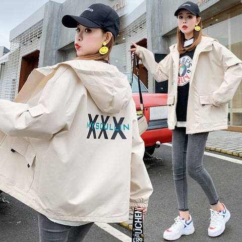 jacket women harajuku female Korean fashion casual printed hooded loose hip hop female outerwear big pockets coats
