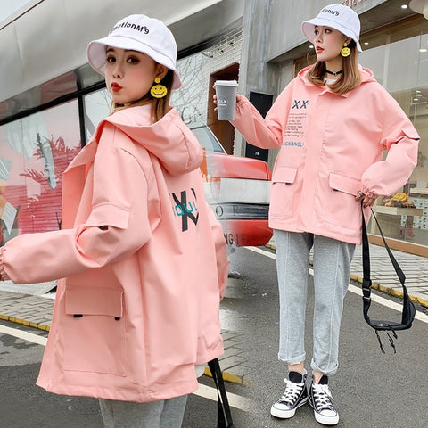 Image of jacket women harajuku female Korean fashion casual printed hooded loose hip hop female outerwear big pockets coats