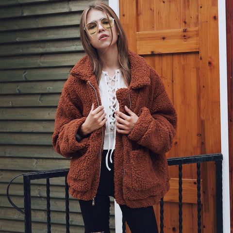 Image of Fur Coat Women Short Casual Winter Jacket