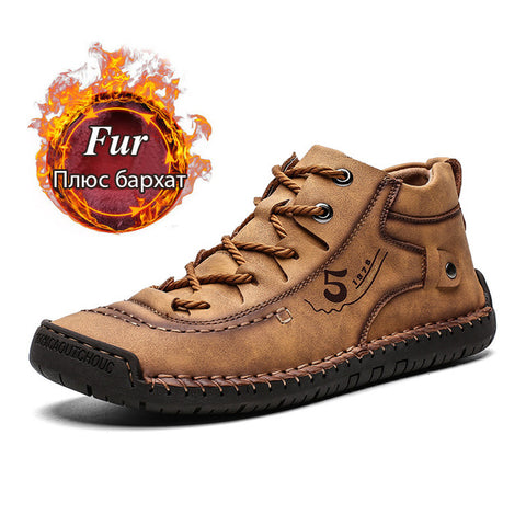 Men's Warm Fur Snow Boots Winter Shoes