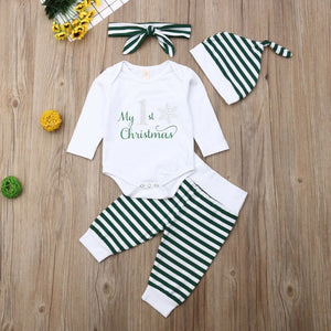 4PCS Lovely Baby Girls Cotton Clothes Sets Letter Printed Rompers Striped Pants Caps Xmas Newborn Baby Girl Christmas Outfit