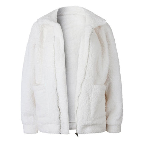 Image of Winter Women's Zipper Warm with Fur Bomber Jackets