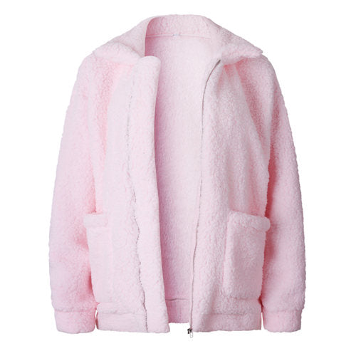 Winter Women's Zipper Warm with Fur Bomber Jackets