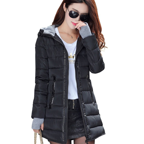 Image of Women Winter Hooded Warm Coat Plus Size Candy Clothes Cotton Padded Jacket Female Long Parka Womens Wadded Jaqueta Feminina