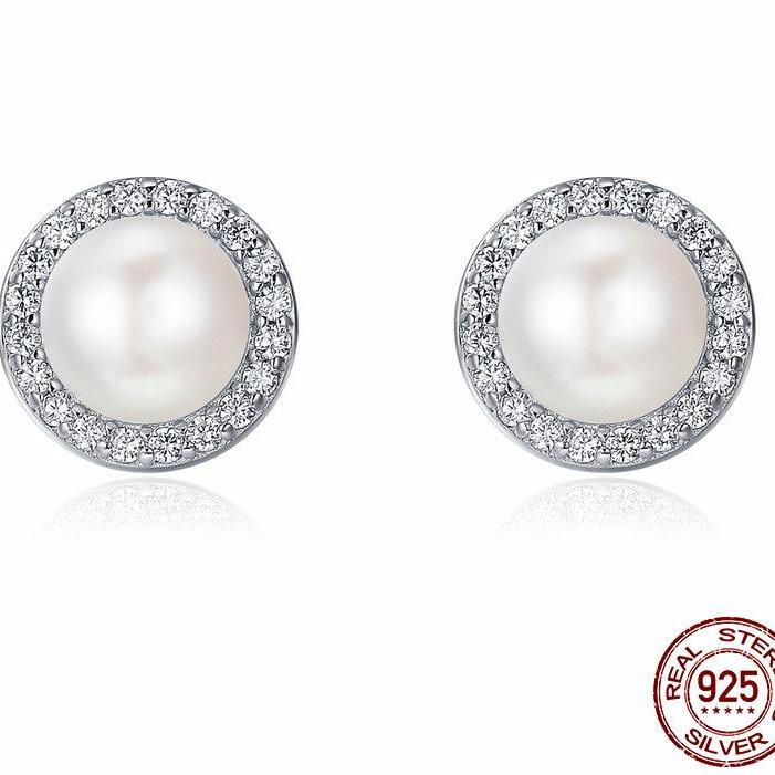 925 Sterling Silver Classic Round Sparkling CZ Fresh Water Pearl Stud Earrings - fobglobal