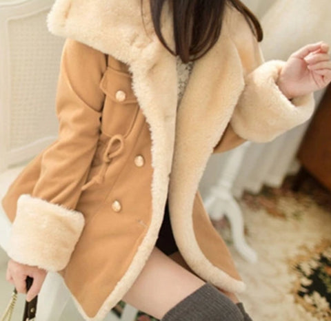 Women's Winter Casual Double Breasted Coat Sizes S-5XL