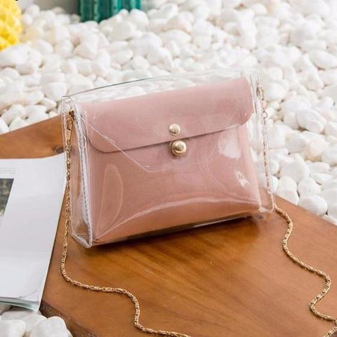 Image of Transparent Chain Strap Handbag