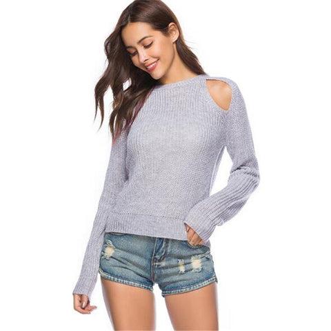 Candy Colour Fashion Hollow Out Sweater - fobglobal