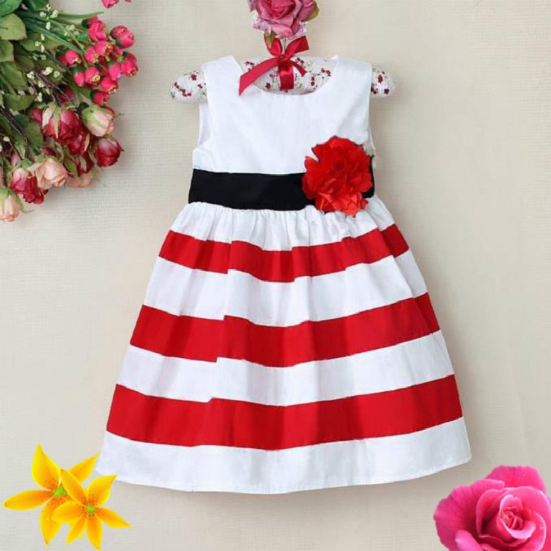 Girls Princess Stripes Party Dress 6M-4T - fobglobal