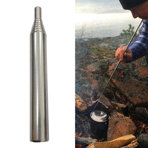 Stainless Steel Pocket Bellow Tube Retractable Air Blasting Campfire Fire Starter