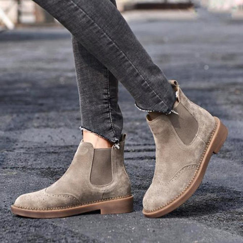 Women Elastic Ankle Pig Suede Brogue Boot Genuine Leather