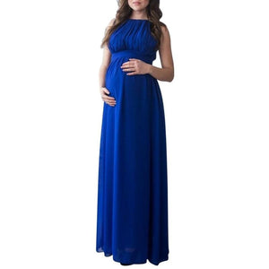 Long Maternity Dress Sleeveless Solid Colour Maxi Gown Plus Size - fobglobal