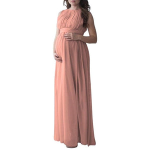 Long Maternity Dress Sleeveless Solid Colour Maxi Gown Plus Size