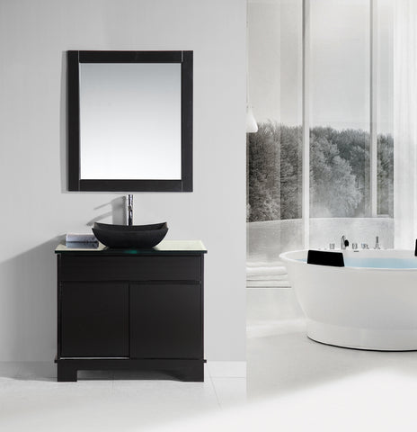 "Oasis 36"" Single Sink Vanity Set with Decorative Drawer in Espresso"