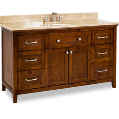 "Chatham Shaker Jeffrey Alexander Vanity, 60"", Chocolate, With Pre-assembled Top and Bowl"