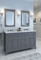 "Chatham Shaker Jeffrey Alexander Vanity, 60"", Gray, With Pre-assembled Top and Bowl"