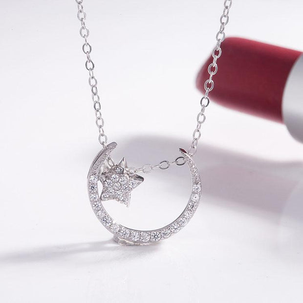 Moon and Star S925 Silver Necklace