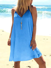 Solid Color V-neck Sling Casual Shift Dress