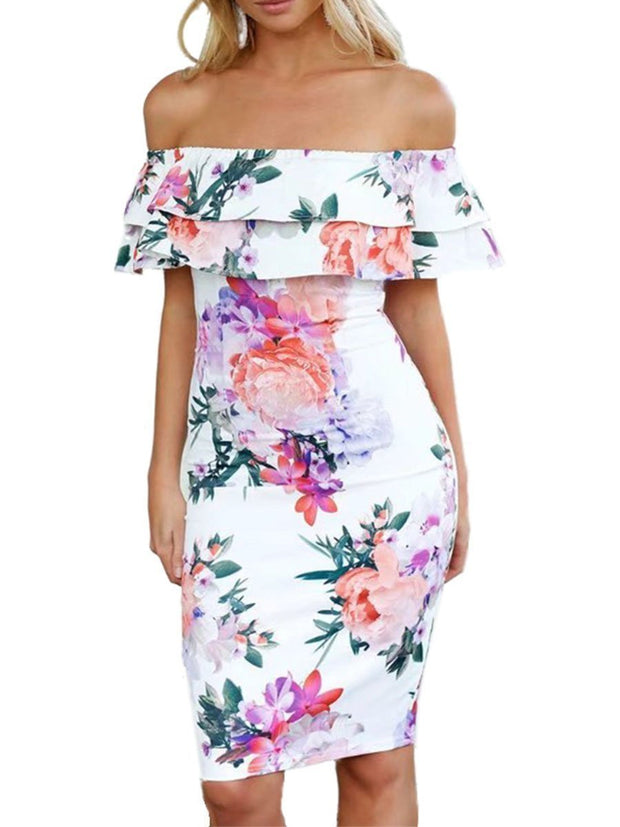 Off Shoulder Layered Flouncing Bodycon Floral Dress