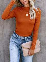 Women's New Long-sleeved T-shirt Solid Color Round Neck Shirt