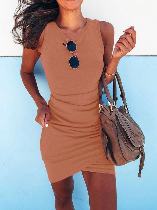 Irregular Sleeveless Bodycon Dress