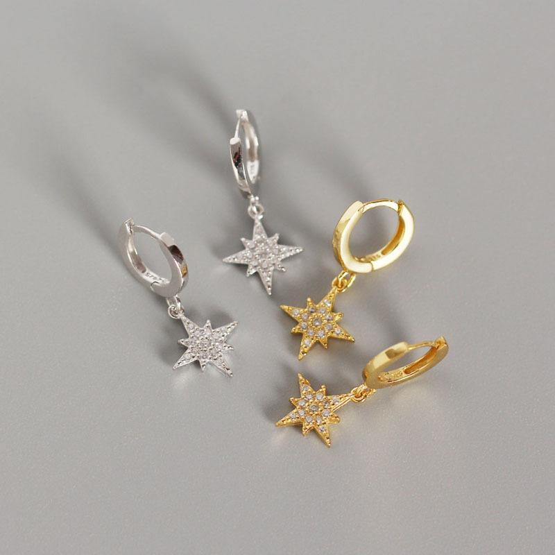 Star Octagonal with Zircon S925 Silver Women Earring