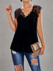Drawstring Neck Lace Splicing Blouse