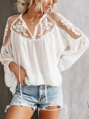 Sexy See-Through Lace Splicing Long Sleeves Solid Color Blouse