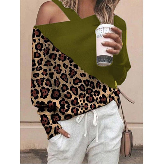 Diagonal shoulder collar leopard long sleeve T-shirt