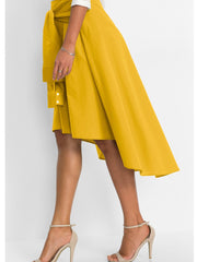 Solid Color Irregular High Low Skirt