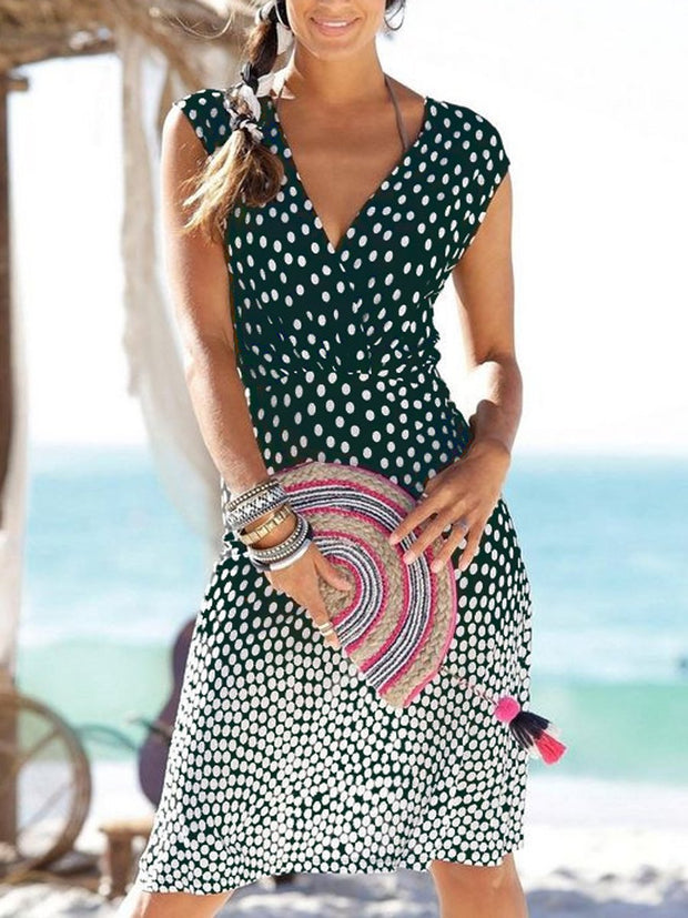 V-Neck Polka Dot printed Bodycon Dresses