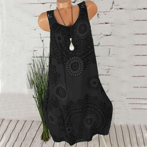 Sleeveless Print Round Neck Lace Casual Dress