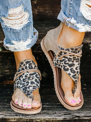 Leopard Printed Zipper Flat Sandals