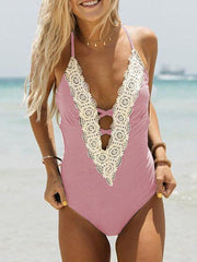 Sexy Lace-Up V-Neck One-Piece Swimwear