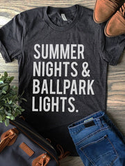 BASEBALL SUMMER NIGHTS & BALLPARK LIGHTS. T-shirt